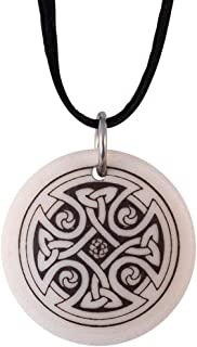 Round Celtic Cross Pendant   Porcelain Medal on Braided Cord for Irish and Scottish Gift