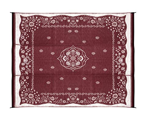 Camco OUTDOOR MAT, 9FT X 12FT, BURGUNDY ORIENTAL, W/UV
