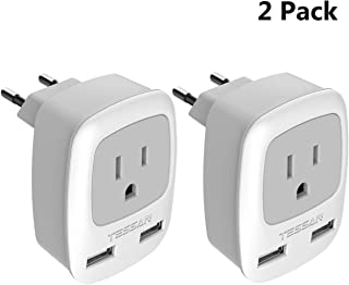 European Plug Adapter 2 Pack, TESSAN International Travel Power Outlet Adaptor with 2 USB - USA to Most of Europe EU Spain Iceland Germany France Italy (Type C)