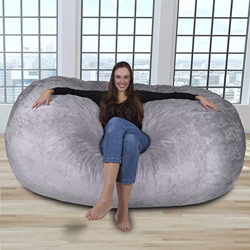 RIESEN SITZSACK MIT VELOUR KUSCHELBEZUG IN SILBER GRAU! Der größte Sitzsack Europas - 1500 L Memory Schaumstoff Füllung - Gemütliches Sofa, Riesen Bett, Bean Bag für Kinder und Erwachsene
