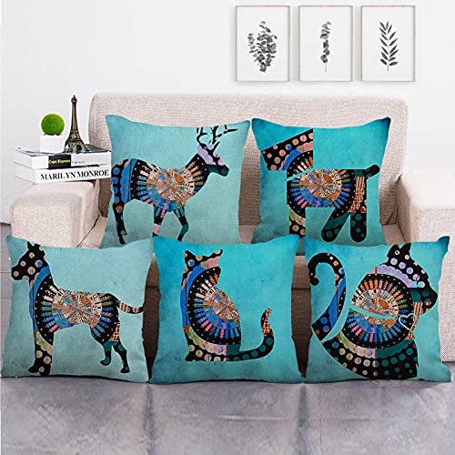 Lyotreiocvniszx 45 cm x 45 cm fondo azul mandala diseño animal manta cojín cubierta lino/algodón sofá almohada funda decorativa almohada