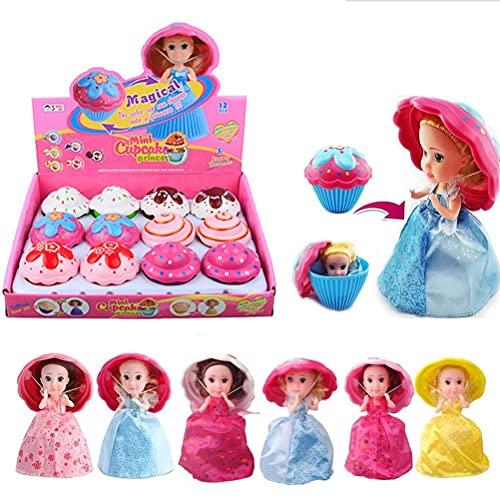 Kidnefn Juego de decoración de Pasteles, casa de Juegos para niños, muñeco de Pastel de Taza, muñeca Dulce Sorpresa, Juguete de Princesa deformable, Regalos para niños