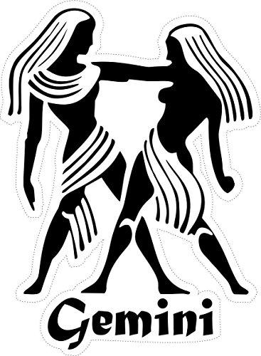 Akachafactory sticker sterrenbeeld Astrologie Gemini edelstenen, zwart wit auto