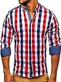 BOLF Hombre Camisa De Manga Larga Cuello Americano Camisa de Algodón Slim fit Estilo Casual 2779 Rojo M [2B2]