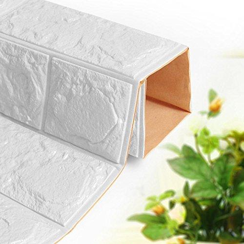 PE Schaum 3D Wandpaneele Selbstklebend, 3D Ziegel Tapete, Brick Pattern Wallpaper für Schlafzimmer Wohnzimmer Moderne tv DIY Wandaufkleber LuckyGirls (Weiß)