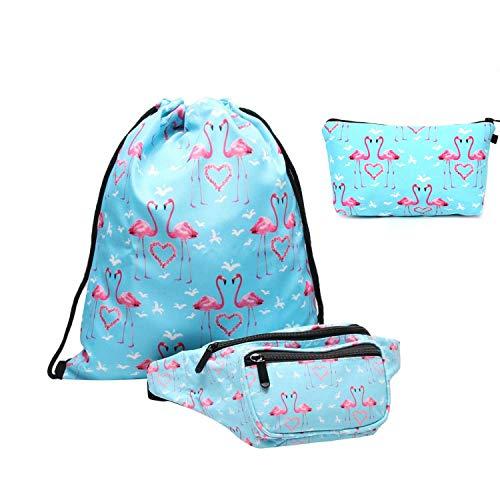 Riñonera set Giddah - Bolsa de Deporte con riñonera para niña, riñonera para tavelling, Color Flamingos,para el Paquete de la Cintura del Viaje 3pcs/set