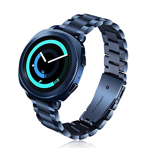 VIGOSS Compatible Gear Sport Bands/Galaxy Watch 42mm Band,20mm Blue [UPGRADE] Polished&Brushed Solid Metal Stainless Steel Strap Replacement Bracelet for Samsung Gear Sport R600/Galaxy Watch 42mm R810
