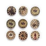 Botones artesanales de bricolaje hechos a mano 50 unids Reloj Temas Botones de madera para el trabajo manual Costura Libro de recuerdos Ropa Artesanos Accesorios Tarjeta de regalo Decoración hecha a m