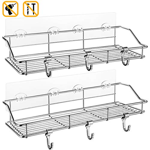 Buy Cheap Shower Shelf with Extra 6 Hooks, Homemaxs 304 stainless steel shower caddy(13.8 In) 2019 U...