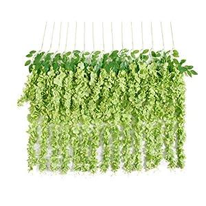 Huata 10PCS 3.2 Feet Artificial Flower Wisteria Vine Ratta Hanging Wedding Decor Garlands(Dark Green)