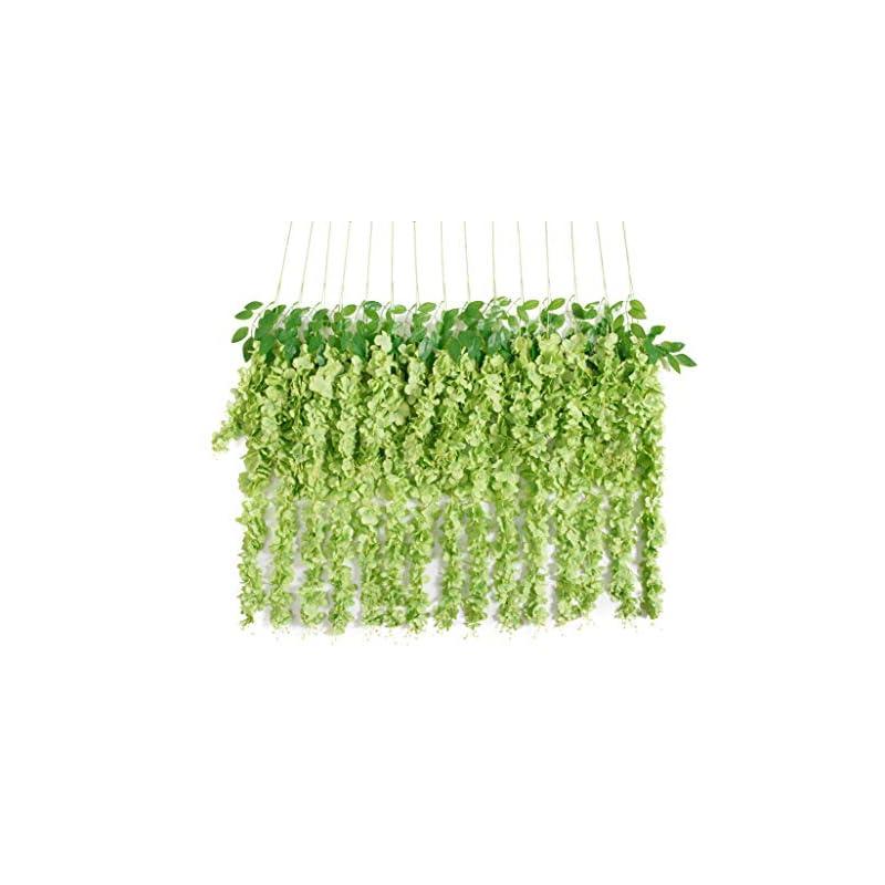silk flower arrangements huata 10pcs 3.2 feet artificial flower wisteria vine ratta hanging wedding decor garlands(dark green)