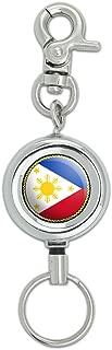 Flag of Philippines Lanyard Belt ID Badge Key Retractable Reel Holder