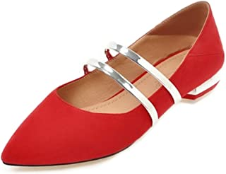 SJJH Marry Jane Shoes with Pointed Toe and Fashion Flats for Cute Women