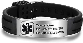 Lam Hub Fong Free Engraving 9 Inches Silicone Adjustable Medical Bracelets Sport Emergency ID Bracelets for Men Women Kids Waterproof Stainless Steel Rubber Alert Bracelets