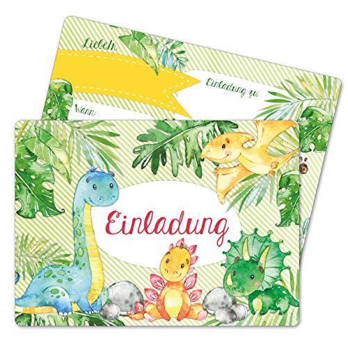 Papierdrachen 12 Einladungskarten zum Geburtstag für Kinder - Motiv Dinos - Geburtstagseinladungen für Deine Geburtstagsparty (DIN A6 mit abgerundeten Ecken)