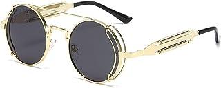 UKKD - Gafas De Sol Moda Redonda Steampunk Gafas De Sol Hombres Mujeres Vintage Gótico Metal Marco Gafas De Sol para Hombre Uv400-Gold Black