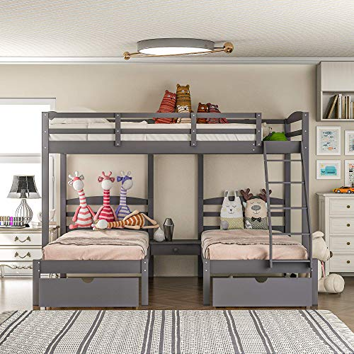 Triple Bunk Bed Full Over 2 Twin Bunk Bed with 3 Drawers and Guardrails, Bunk Bed for Family, Kids, Teens,No Box Spring Needed