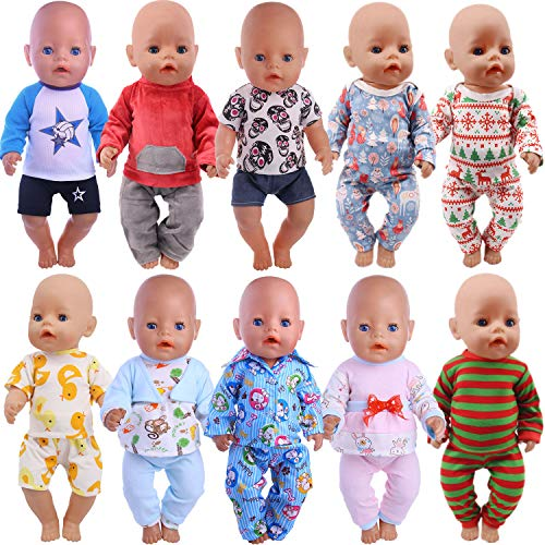 ZWSISU 10 Sets of 14-16 Inch Baby Doll Clothes Outfits Pjs Dresses for 43cm New Born Baby Dolls, American 18 Inch Girl Doll, 15 Inch Bitty Baby Doll