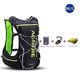 AONIJIE 10L ligero resistente al agua mochila de esquí mochila de running Marathon Ciclismo Bolsas Running chaleco eléctrica bolsa de deporte (Negro-M/L)