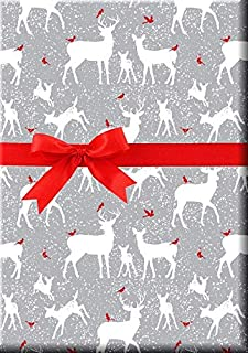 Silver Snowflakes Holiday Reindeer Kraft Wrap Wrapping Paper - 16 Foot Roll