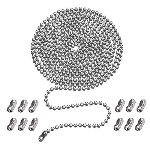 Ceiling Fan Pull Chain, 10 Feet Copper 3mm Beaded Ball Light Pulls Extension Chains with 12 Connectors, Silver