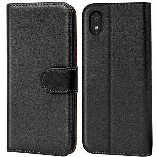 Verco LG K20 Hülle, Handyhülle für LG K20 Tasche PU Leder Flip Hülle Schutzhülle Brieftasche - Schwarz