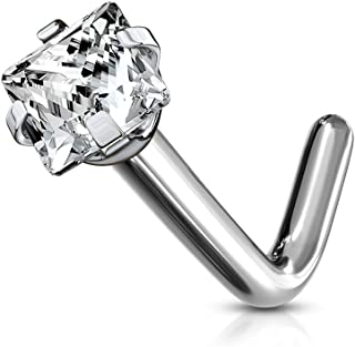 """blue palm body jewelry 18 Or 20 Gauge 1/4 Inch (6Mm) Barbell Grade 23 Titanium Prong Set Square Cz L Bend Nose Stud Rings N106 (20Ga (0.8Mm) 1/4"""" (6Mm) 2X2Mm)"""