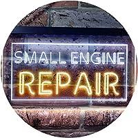 Small Engine Repair Dual Color LED看板 ネオンプレート サイン 標識 白色 + 黄色 300 x 210mm st6s32-i0134-wy