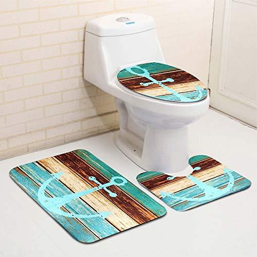 XIONGXIONG Baño Mat Alfombra baño de Asiento de Inodoro Cubierta de la Estera de baño Creativo Set 3 Piezas Retro del Viejo Estilo de Anclaje Antideslizante Fácil de Lavar y Limpiar