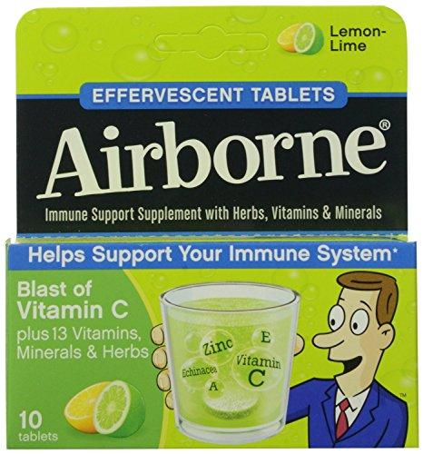 Airborne Effervescent Health Formula Tablets, Lemon-Lime, 3 Packs of 10, 30 Count