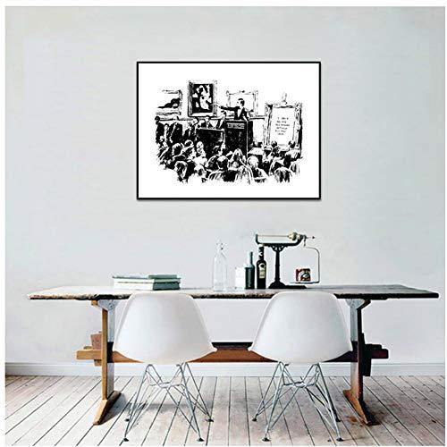 Banksy Graffiti Veilingen Lrony Posters En Prints Woonkamer Muurdecoratie Zwart-wit Canvas Schilderij -40x60cm Geen lijst