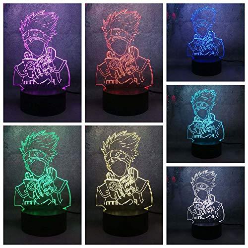 Nur 1 Stück Touch Grundfarbe Home Decor Nachtlicht 3D LED Hatake Kakashi Lampe anwenden Kinderstudie Tischlampe Beleuchtung Geschenk Spielzeug