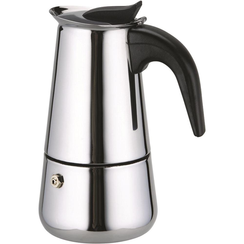 Grunkel - Cafetera italiana de 9 tazas en acero inoxidable para cocina de inducción, gas, eléctrica y vitrocerámica con apertura y mango de tacto frío. Modelo CAF-914: Amazon.es: Hogar