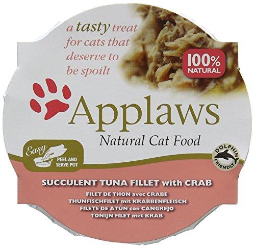 Applaws Natürliches Katzenfutter-Thunfischfilet mit Krabbe, 10er Pack (10 x 60 g)