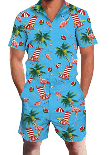 Loveternal Mens Blue Romper Funny Printed Hawaiian One Piece Pink Flamingo Short Sleeve Button Rompers Summer Short Jumpsuit Overall Pants S