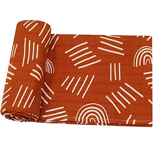 LifeTree Manta Muselina, Manta Verano Bebé 120x120 cm, Súper Suave Mantas Envolventes de Muselina Recien Nacido, 70% Bambú & 30% Algodón, Arco Iris Diseño