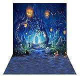 Andoer 1.5 * 2m Telón de Fondo de Fotografía Impresión Digital Halloween Calabaza Cementerio Patrón de la Impresión para Foto Estudio