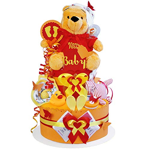 MomsStory - Gâteau à couches neutre - Winnie l'ourson - Cadeau de naissance pour bébé - 2 bâtons (Orange-Rot) - Bébé fille (unisexe) - Avec tétine en peluche et plus