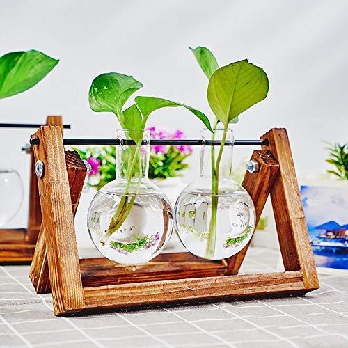KnikGlass Hydroponische Vase Deko Holz Halter mit Hydroponik Glasvase Hängevase Blumenvase Tischvase Dekovase für Hydrokultur Pflanzen, Zuhause oder Büro Dekoration (Braun, 2 Vasen)