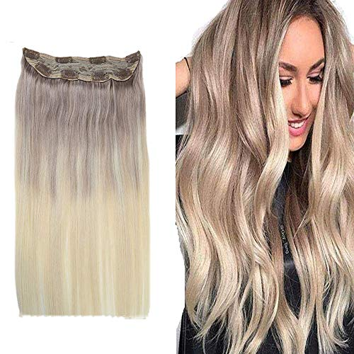 Easyouth One Piece Clip In Extensions Echthaar 100 Grams Farbe #18 Aschblond Fading To #60 Platinblond 18 Zoll Clip In Extensions Voller Kopf Clip In Extensions Lang