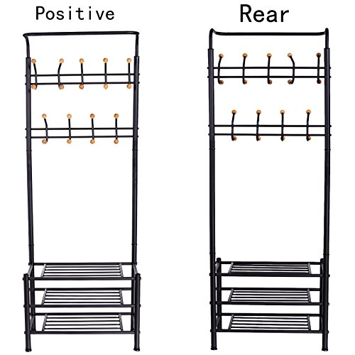 Flagup Clothes Coat Rack, Heavy Duty 18 Hooks Garment Rack, with 3 Tier Shoe Rack Shelves Organizer for Hallway Entryway - Black