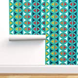 Peel-and-Stick Removable Wallpaper - Hourglass Martini MCM Mod Oval Retro by Alchemiedesign - 24in x 72in Woven Textured Peel-and-Stick Removable Wallpaper Roll