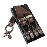 Hommes Lourds Bracelets KANGDAI 6 Boucles Y Retour 10 Couleurs Suspensions ajustables élastiques et durables Clips en métal fort (marron)
