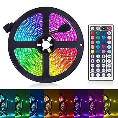 LED Strip Lights, 16.4ft RGB LED Light Strip 5050 LED Tape Lights, Color Changing LED Rope Lights with Remote for Home Lighting Kitchen Bed Flexible Strip Lights for Bar Home Car Decoration
