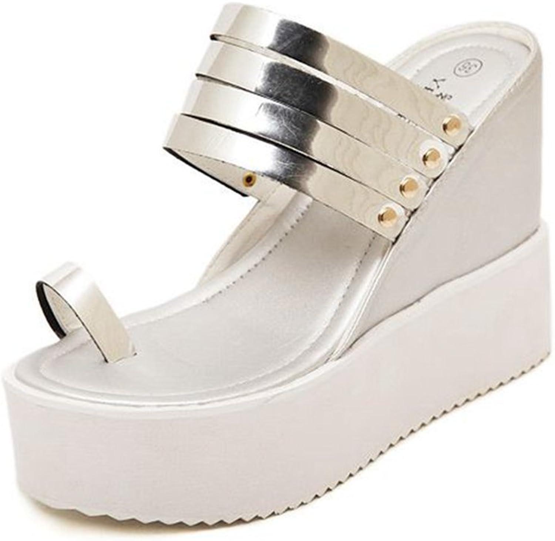 GIY Women's Fashion Wedges Platform Toe Sandals Strappy Summer Beach Comfort Glitter Slides Sandals