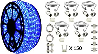 AQL Dimmable Blue LED Rope Light Deluxe Kit, 120 Volts, Full 360 Degrees LED 513PRO Diode, 150ft/Roll, Commercial Grade Indoor/Outdoor Rope Light, IP65 Waterproof