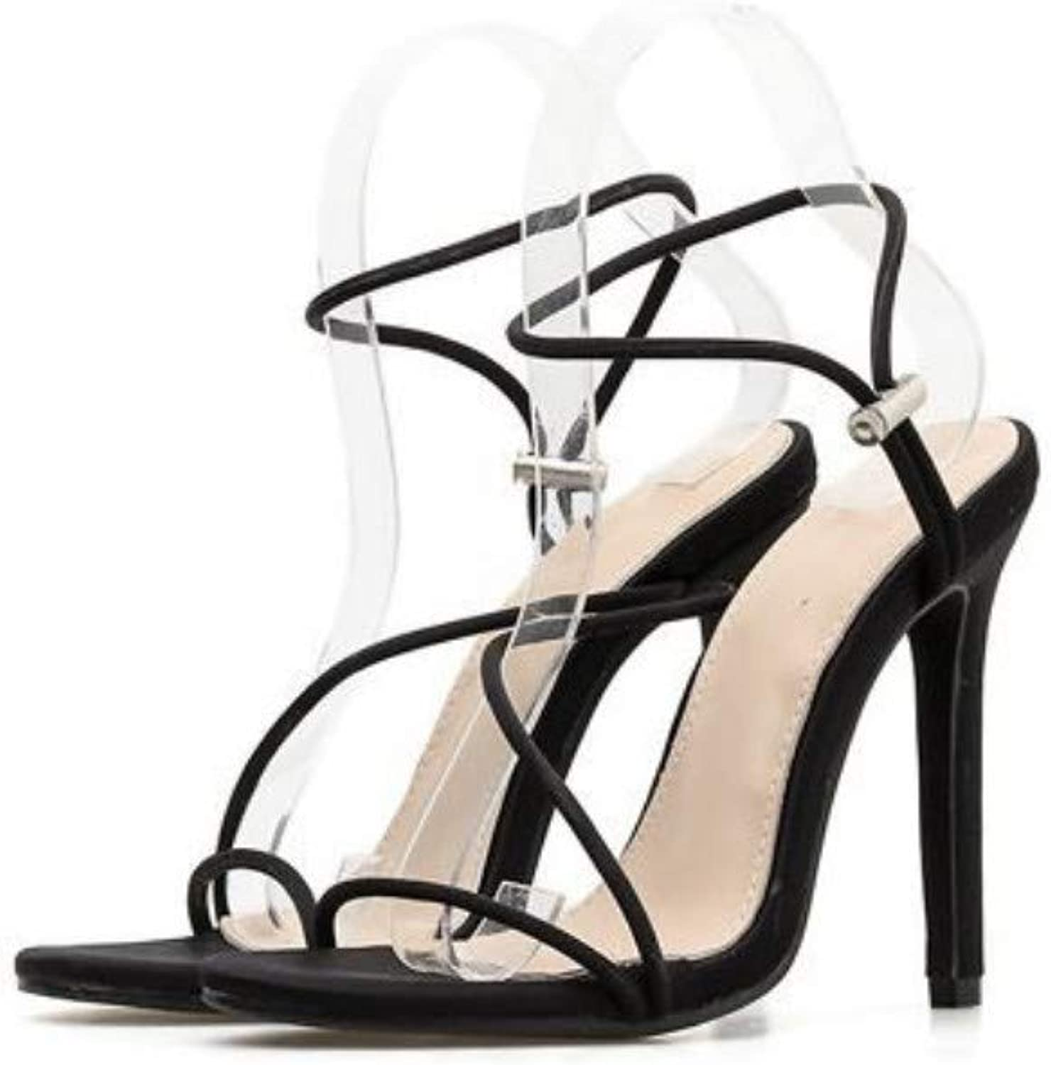 JQfashion Women's High-Heeled shoes Candy color Pointed High-Heeled Sandals with Sexy Ribbons
