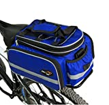 Disconano Waterproof Multi Function Excursion Cycling Bicycle Bike Rear Seat Trunk Bag Carrying Luggage Package Rack Pannier with Rainproof Cover (Blue)