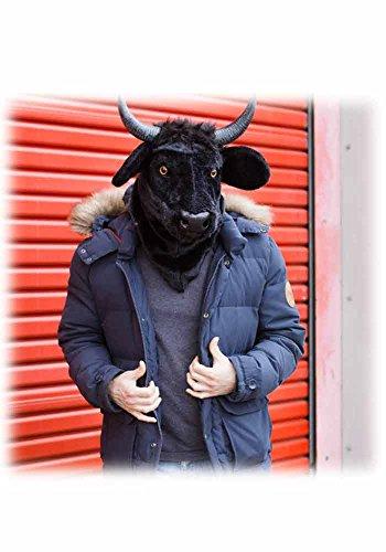 Folat Moving Mouth Stierkopf Kuh Stier Deluxe Maske Tiermaske schwarz