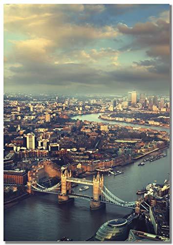 Panorama Póster Tower Bridge London 50 x 70 cm Impreso en Papel 250gr Póster Pared Cuadros Decoración Salón Cuadros para Dormitorio Póster Decorativos Cuadros Modernos